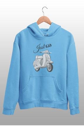 Angemiel Wear Just Go Vespa Mavi Kadın Kapüşonlu Sweatshirt Çanta Kombin