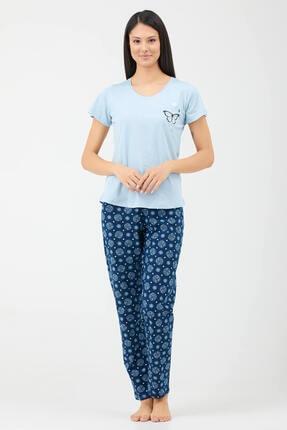 Sementa Kelebek Desen Kadın Ikili Pijama Takım - Mavi