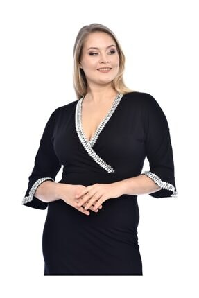 TREND Kadın Siyah Elbise Yaka Ve Kollarda Parlak Detaylar