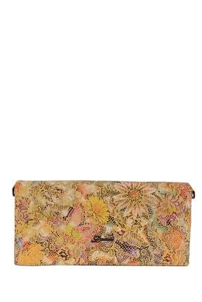 Desisan Desenli Sarı Kadın Deri El Çantası 01436