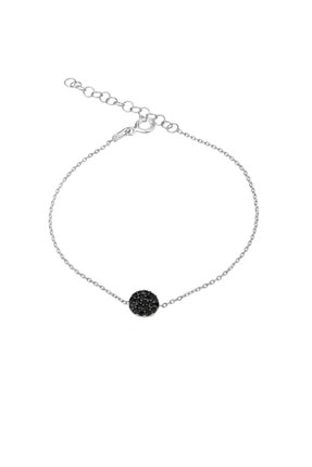 Femmevien 925 Ayar Gümüş Siyah Taşlı Basic Bileklik