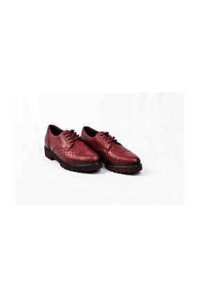 Mammamia Hakiki Deri Bordo Rugan Kadın Bağcıklı Oxford Günlük Klasik Ayakkabı