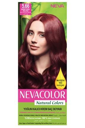 Neva Color Natural Colors 5.66 Şarap Kızılı - Kalıcı Krem Saç Boyası Seti