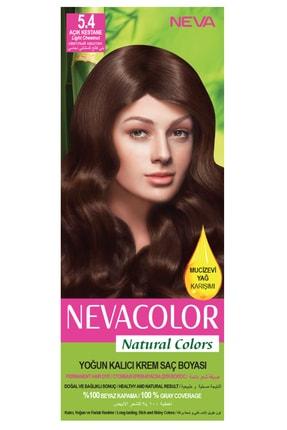 Neva Color Natural Colors 5.4 Açık Kestane - Kalıcı Krem Saç Boyası Seti