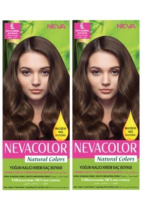Neva Color 2'li Natural Colors 6. Koyu Kumral - Kalıcı Krem Saç Boyası Seti