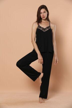 Siyah İnci Ip Askılı Dantel Ve Sırt Detaylı Viskon Pijama Takım