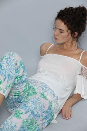 Siyah İnci Kısa Kollu Dantel Detaylı Viskon Pijama Takım