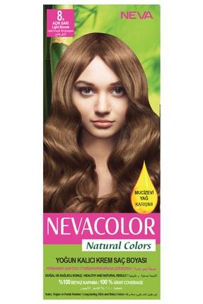 Neva Color Natural Colors 8. Açık Sarı - Kalıcı Krem Saç Boyası Seti