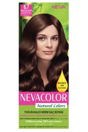 Neva Color Natural Colors 6.7 Çikolata Kahve - Kalıcı Krem Saç Boyası Seti