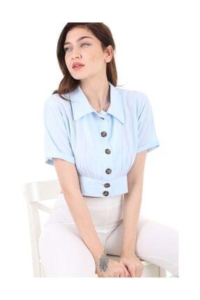 Bigdart Kadın Mavi Gömlek Yaka Düğmeli Bluz 3680bgd19_008