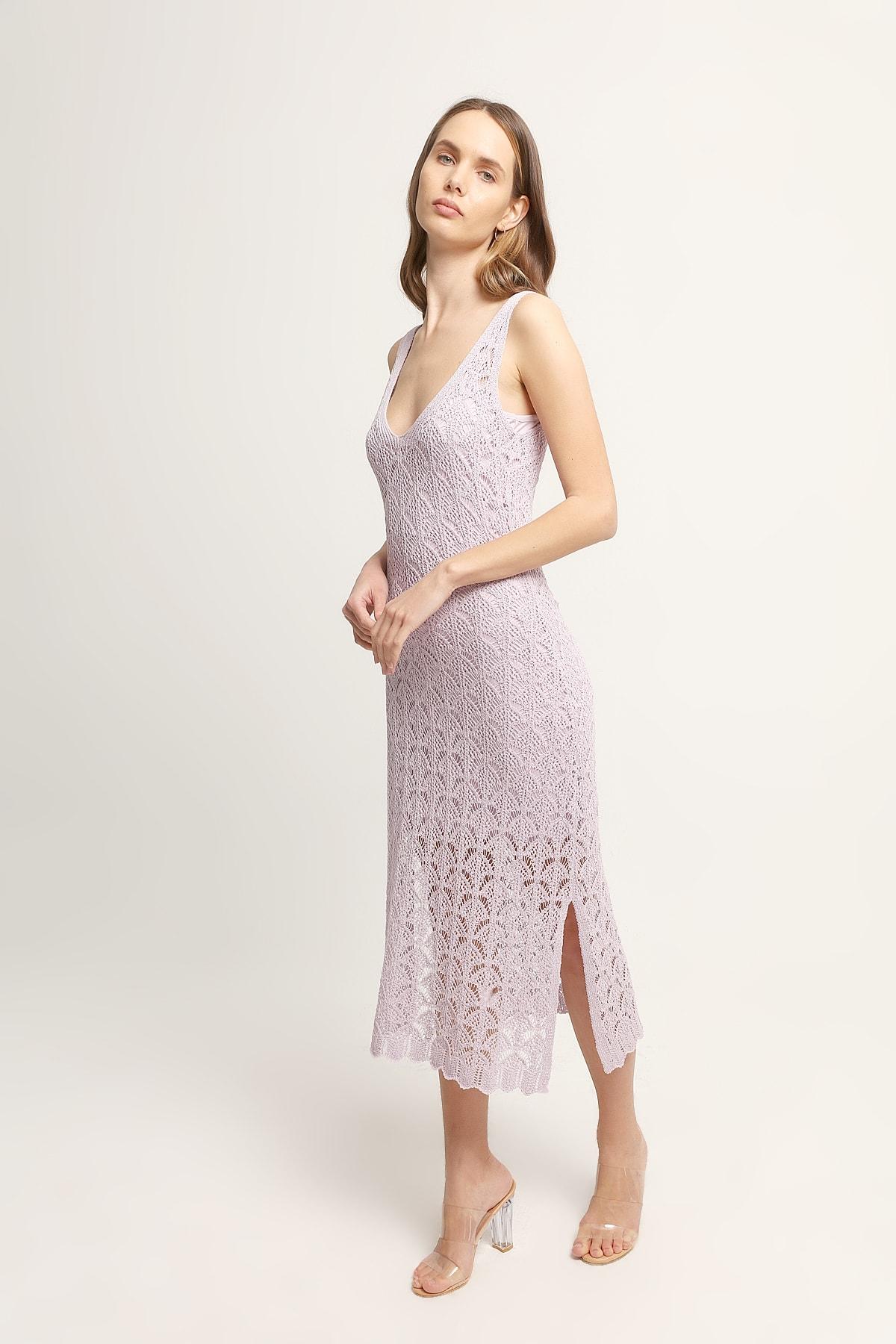 JOIN US Kadın Yanları Yırtmaç Detaylı Uzun Triko Elbise-Lila 2020S057