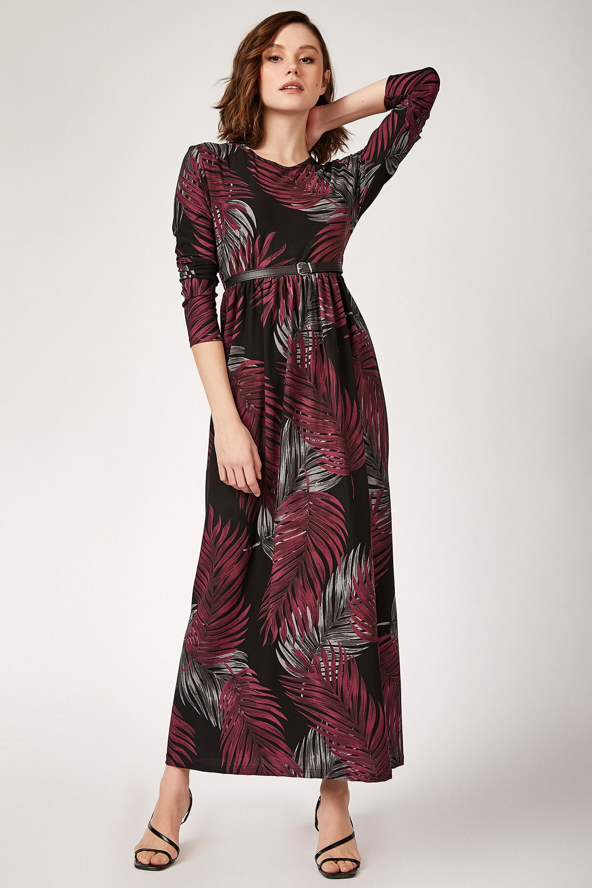 Bigdart Kadın Mürdüm 10294 Kemerli Çiçek Desenli Tesettür Elbise 10294BGD19