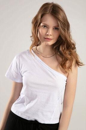 Y-London Kadın Ekru Tek Omuz Tişört Y20S145-SN031