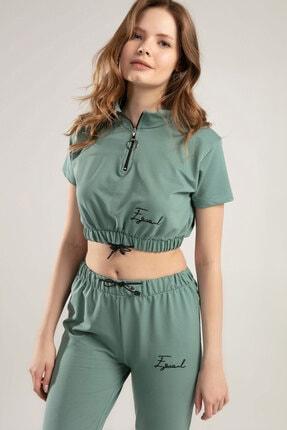 Y-London Kadın Mint Yeşili Belden Lastikli Kısa Kollu Eşofman Takımı Y20S151-1202