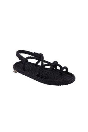 NOMADIC REPUBLIC Ibiza Kadın Halat & Ip Sandalet - Siyah