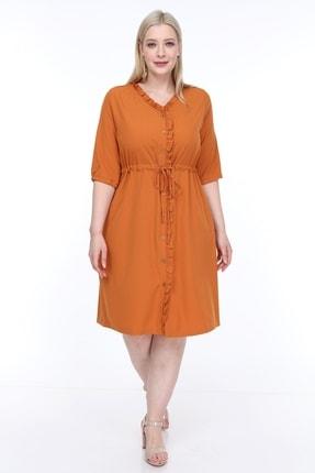 Lir Kadın Büyük Beden Fırfırlı Düğmeli Truvakar Kol Elbise Hardal