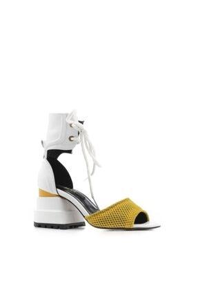 İlvi Gone Kadın Sandalet Sarı File-beyaz Deri