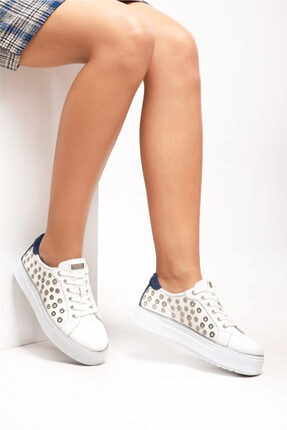Ferre Kadın Beyaz-Lacivert Günlük Ayakkabı