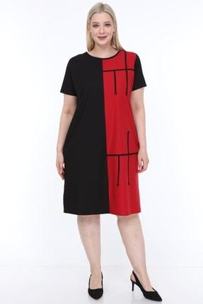Lir Kadın Büyük Beden Yarım Kol Elbise Siyah