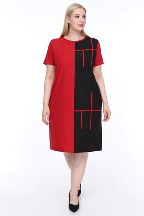 Lir Kadın Büyük Beden Yarım Kol Elbise Kırmızı