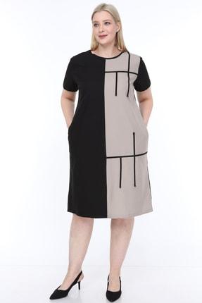 Lir Kadın Büyük Beden Yarım Kol Elbise Vizon
