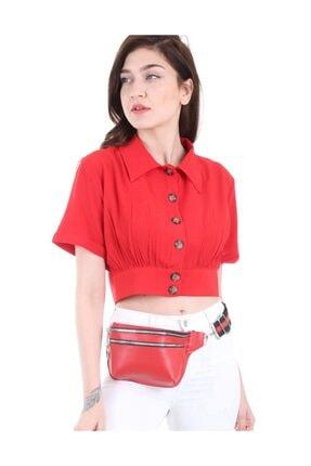 Bigdart Kadın Kırmızı Gömlek Yaka Düğmeli Bluz 3680bgd19_006