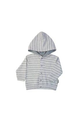 Ciccim Erkek Bebek Gri Çizgili Kapüşonlu Penye Hırka 4313