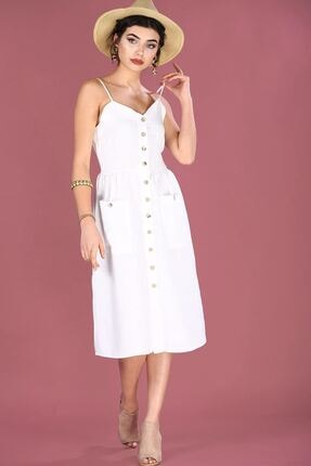 Nesrinden Kadın İp Askılı Ekru Elbise ELB000207626