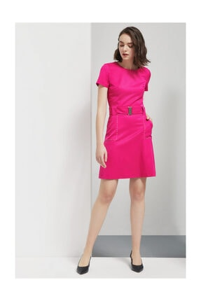 Perspective Arnola Kemer Detaylı Diz Üstü Fuşya Elbise