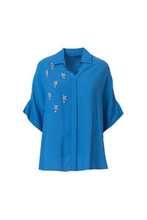 Seçil Taş Detaylı Saks Gömlek