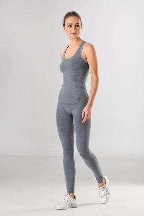 Miss Fit Takım Gri Desen Detaylı Kadın Sporcu Atlet Ve Tayt Örme Seamless Dikişsiz Yoga & Fitness & Plates