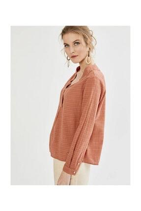 XINT Kadın Kiremit Rengi  Anvelop Kapamalı Yaka Desenli Bluz - 19YB45750626-KR