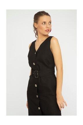 Chima Kadın Siyah V Yaka Keten Elbise Y19EL818