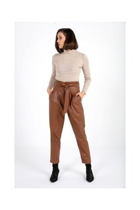 Tiffany K20445 Kuşaklı Deri Pantolon
