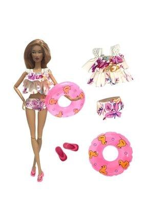 DOLL Barbie Kıyafet Aksesuar - Mayo Bikini Plaj Set Model 10