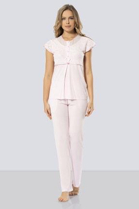 TÜREN Kadın Pembe Dantelli Pijama Takımı   % 65 Viskon % 35 Polyester 3199