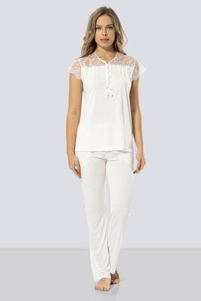 TÜREN Kadın Ekru Dantelli Pijama Takımı   % 65 Viskon % 35 Polyester 3197