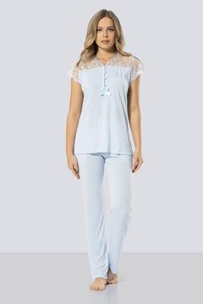 TÜREN Kadın Mavi Dantelli Pijama Takımı   % 65 Viskon % 35 Polyester 3197