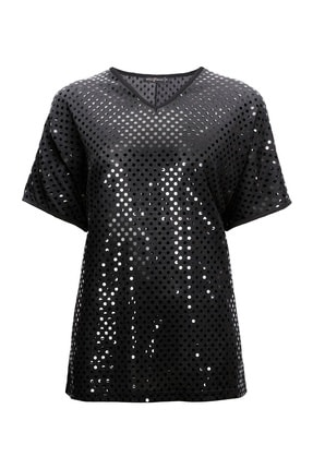 Butik Triko Kadın 3812 V Yaka Puantiyeli Bluz