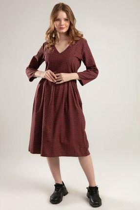 Y-London Kadın Kırmızı V Yaka Uzun Elbise 38575 Y19W109-38575