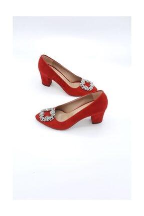 Stella Kırmızı Kadife Taşlı Ayakkabı