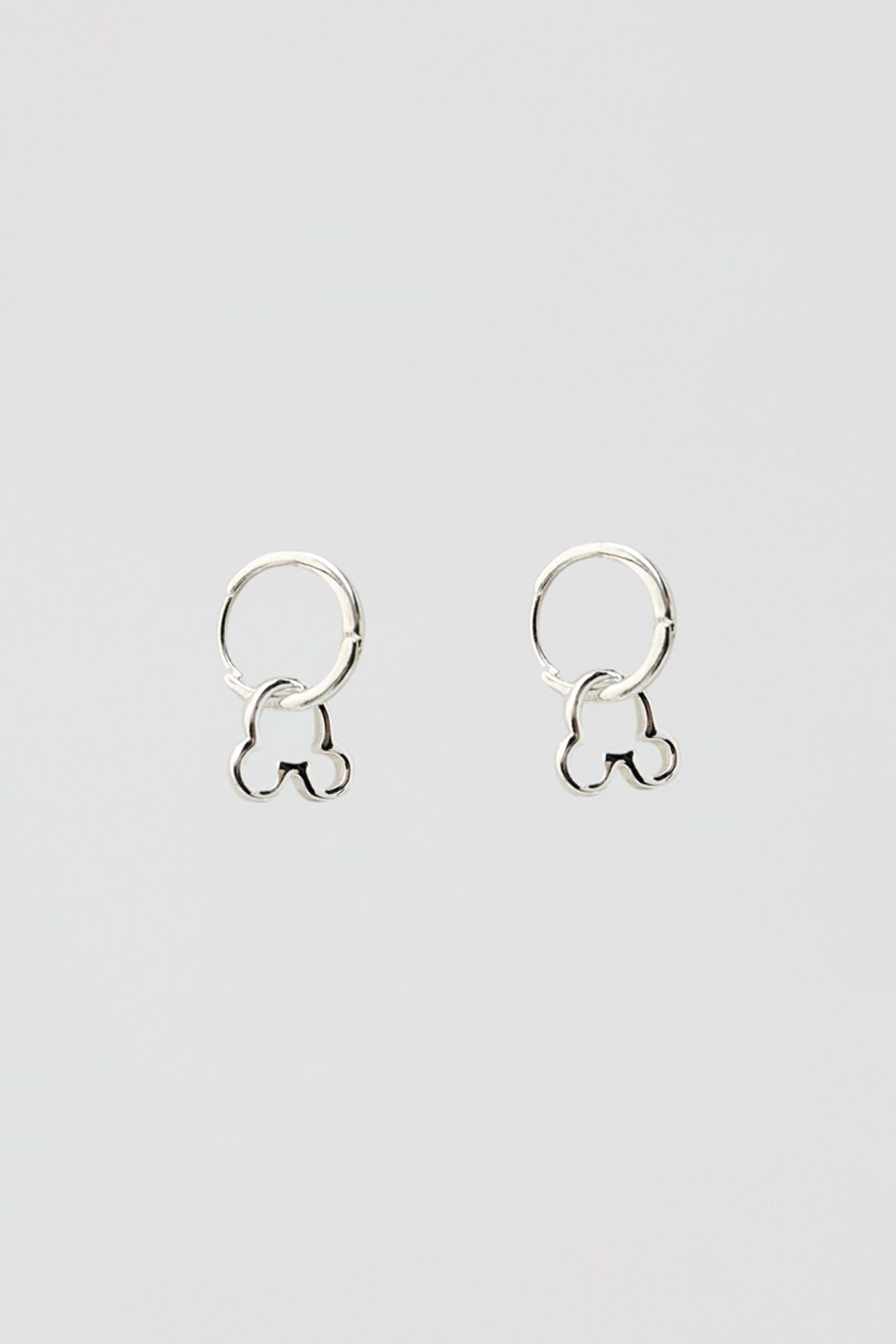 Pull & Bear Kadın Gümüş Gümüş Rengi Mickey Mouse Küpe 05990365
