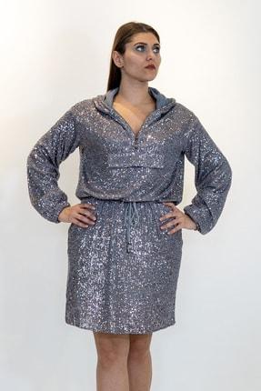 Lefon Kapşonlu Payet Elbise