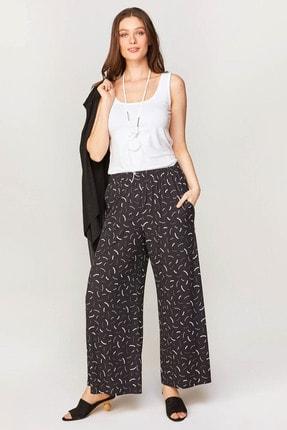 Faik Sönmez Kadın Siyah Wide Leg Fit Geometrik Desenli Örme Pantolon 60528 U60528
