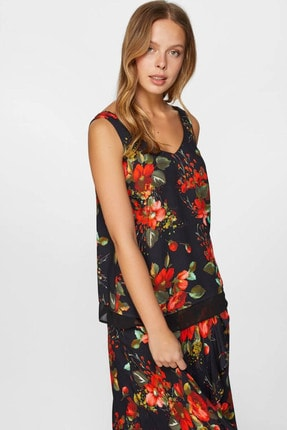 Faik Sönmez Kadın Siyah Çiçek Desenli Bluz 60122 U60122