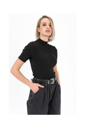 Tiffany Boyunlu Kısa Kol Fitilli Bluz A0076