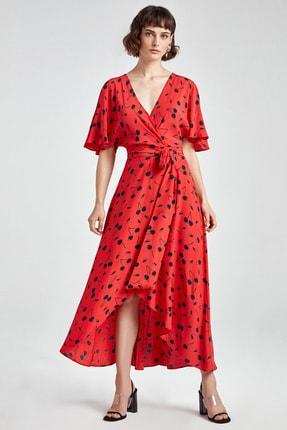 Nocturne Kadın Kırmızı Kruvaze Desenli Midi Boy Elbise N20Y-2205-0003
