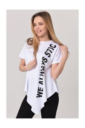 YOYOSO 6120 Asimetrik Kesim Baskılı Tshirt