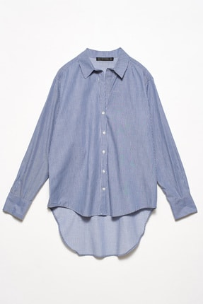 Dilvin Kadın Mavi 5202 Arkası Uzun Klasik Gömlek 103A05202