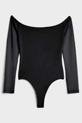 Bershka Kadın Siyah Uzun Kollu Body
